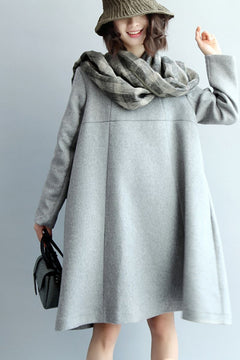 A-Style Simple Wool Dress, Long Sleeve Loose Dress Q5437