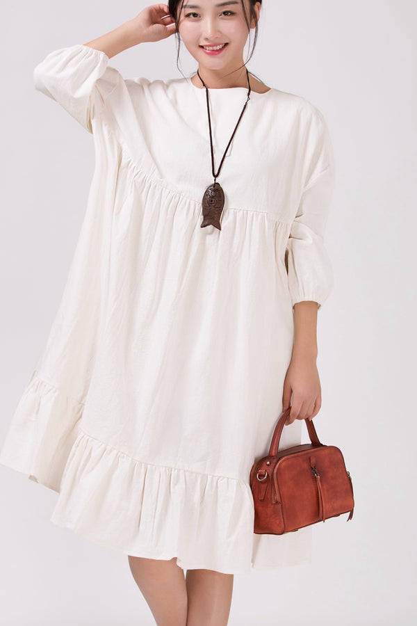 Women White Cotton Linen  Bat Sleeve Round Neck Loose Dress