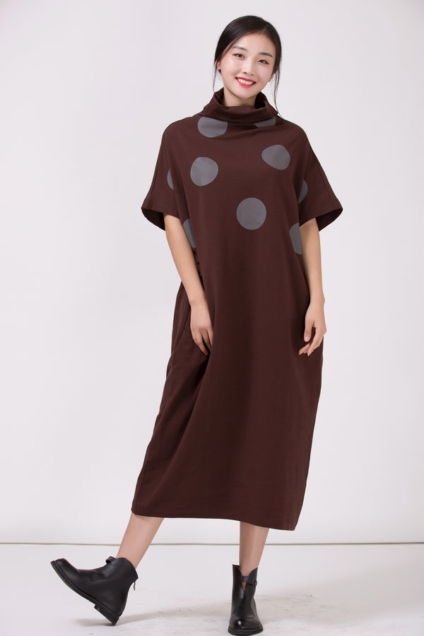 Women Turtleneck Polka Dots Casual Loose Dress