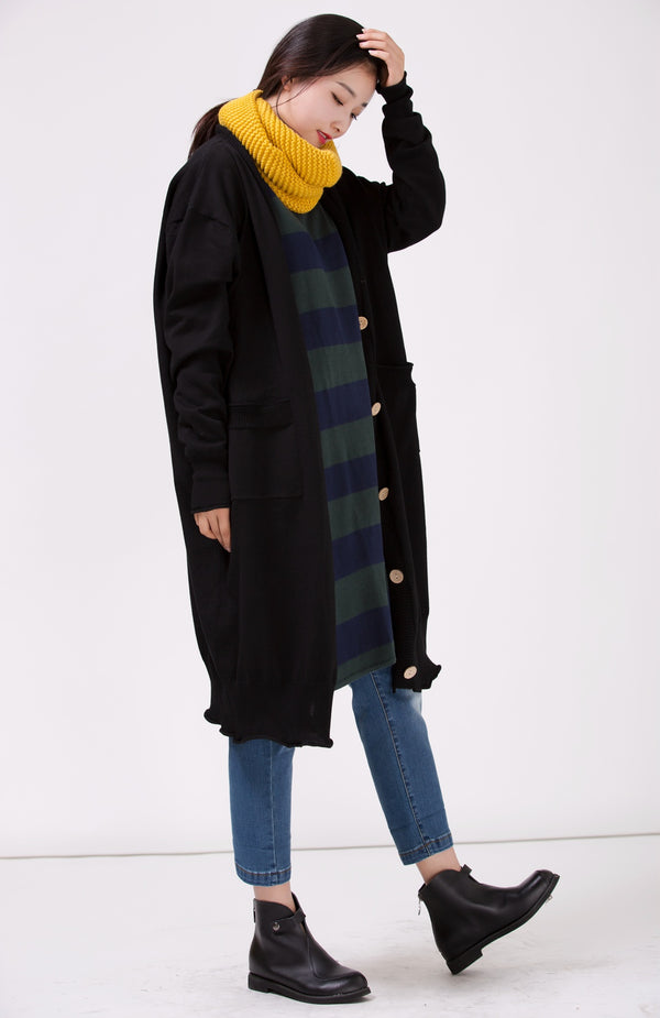 Women Black Loose Plus Size Sweater Coat