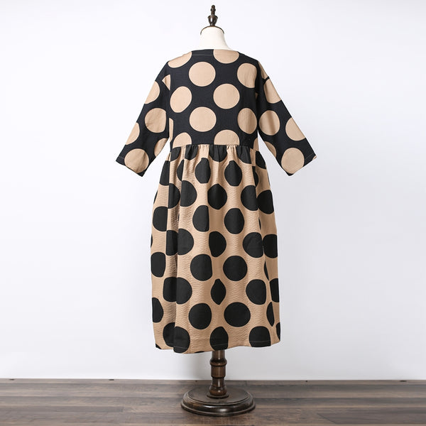 Women Polka Dots Elegant Loose Dress