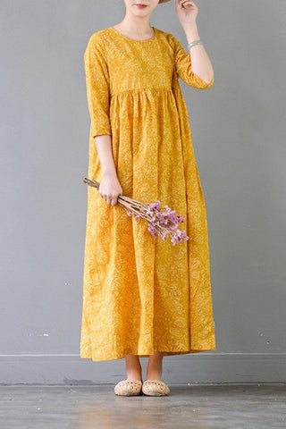 Summer Flower Yellow Casual Cotton  Dresses 3/4 Sleeve Women Clothes
