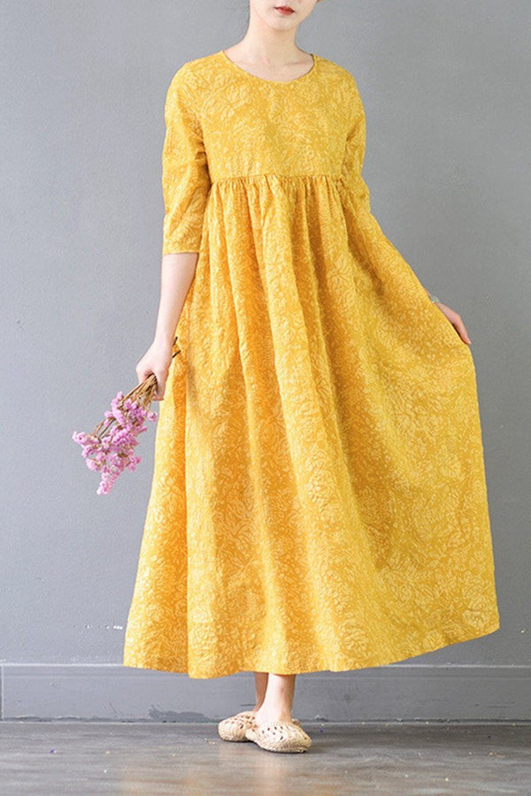 Summer Flower Yellow Casual Cotton  Dresses 3/4 Sleeve Women Clothes - FantasyLinen