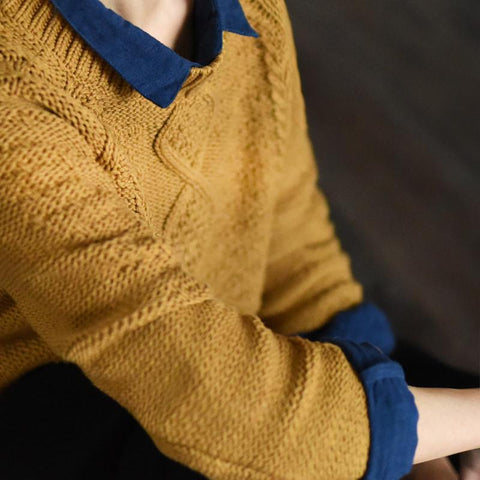 Yellow Vintage Sweater Cotton Simple Casual Loose Women Clothes LR238