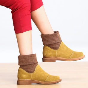 Yellow Wool Faux Leather Beef Tendon Heel Booties - FantasyLinen