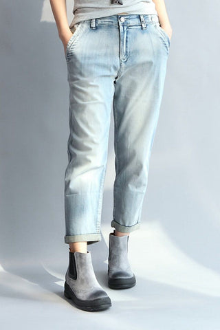 Light Blue Casual Pants Fashion Vintage Cowboy Women Clothes P0501