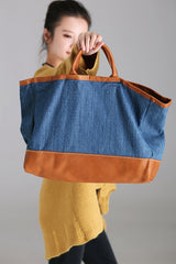 Vintage Leather And Cotton Linen Quilted Casual Women Bag D0167