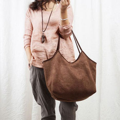 Women Art Suede Shoulder Bag Coffee Leather Bag B7052