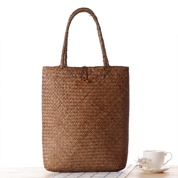 Vintage Natural Straw Handmade Shoulder Bag For Women B7051
