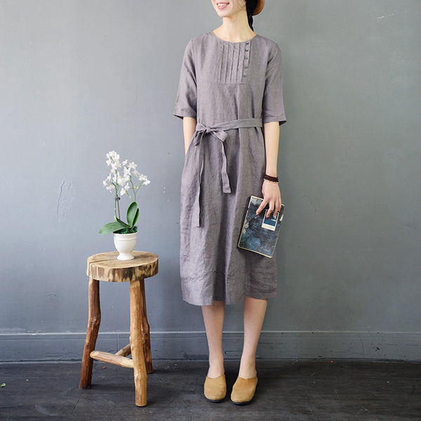 Vintage Loose Linen 3/4 Sleeves Pure Color Dress For Women
