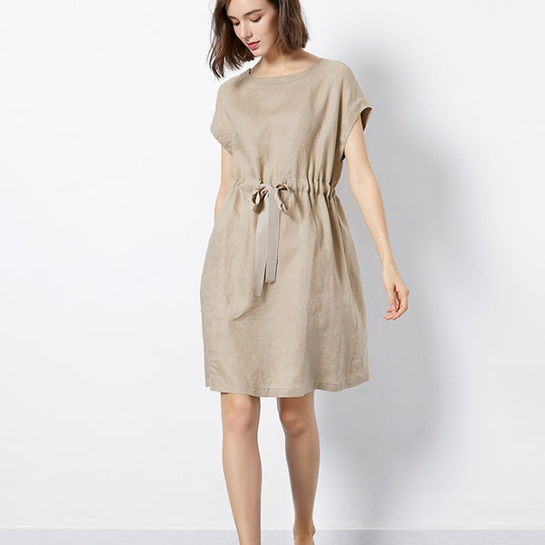 Women Simple Linen Pure Color Waist Drawstring Dress