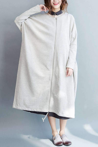2018 Fall Simply Cotton Long Wind Coat Women Clothes W8922 - FantasyLinen