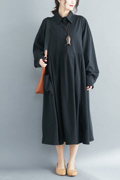 FantasyLinen High Waist Shirt Dress, Loose Literary Black Dress Q3024