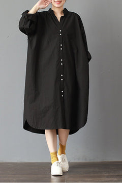 FantasyLinen Plus Size Stand Collar Dress, Cotton Loose Black Dress Q3015