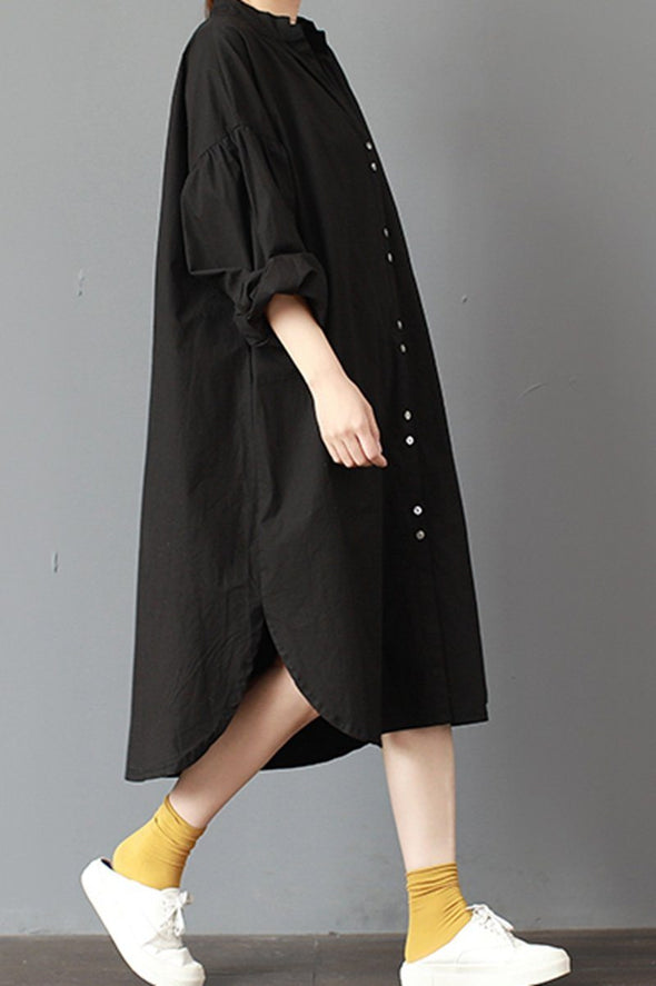 FantasyLinen Plus Size Stand Collar Dress, Cotton Loose Black Dress Q3015 - FantasyLinen