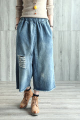 Broken Hole Cowboy Jeans Wide-legged Pants Loose Trousers K7104