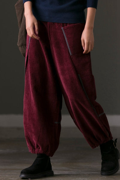 Corduroy Bloomers Pants Women's Casual Trousers in Red