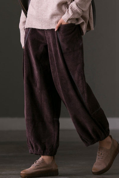 Corduroy Bloomers Pants Women's Casual Trousers in Coffee