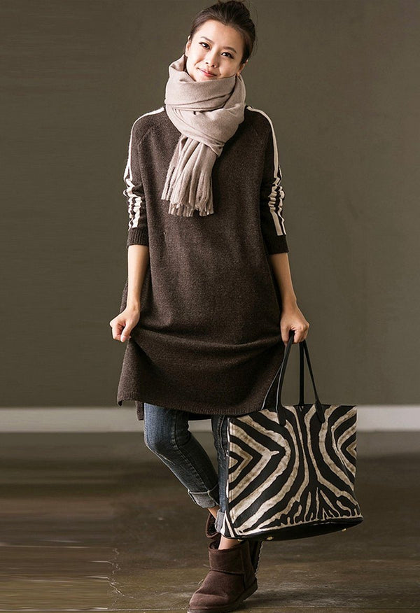 Simply Stripe Turtle Neck Ladies Long Pullover Sweater For Women in Gray - FantasyLinen