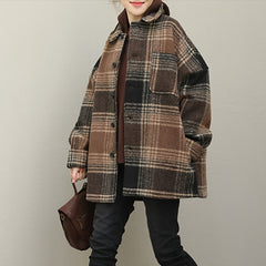 Women Casual Thicken Plaid Woolen Warm Coat For Winter QT375