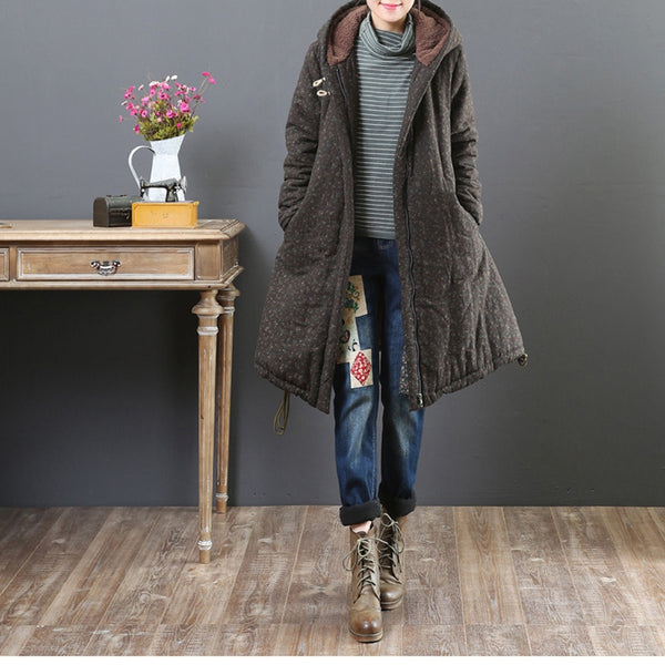 Women Thicken Floral Winter Coat Warm Casual Jackets 9028