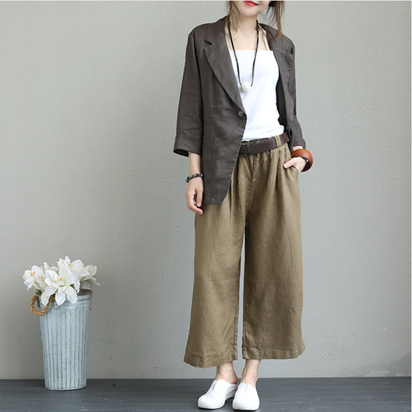 Casual Linen Jacket Women Coats For Fall Q1331