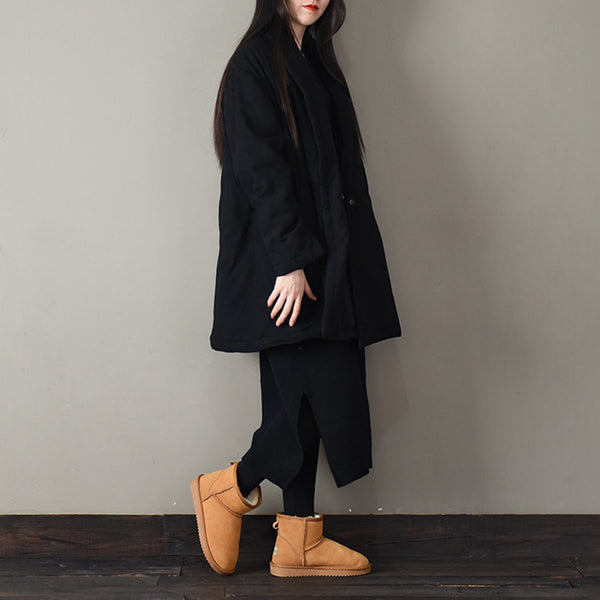 Women Chinese Style Pure Color Thicken Winter Coat U011