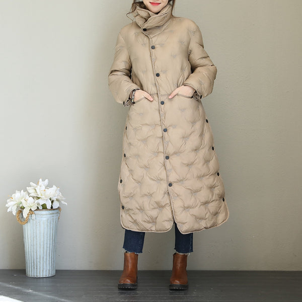 Korea Style Embroidery Thicken Long Coat Women Warm Tops Q1767