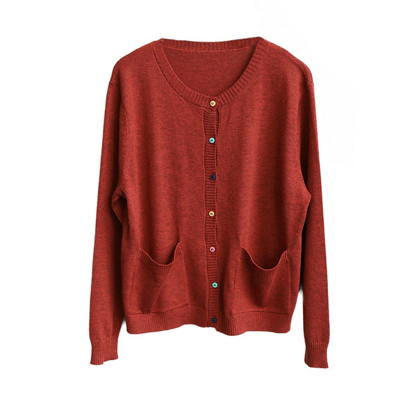 Women Button Down Knitwear Fall Casual Coat Q1612