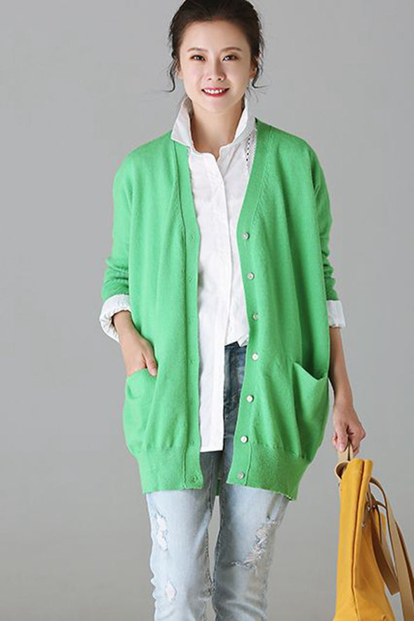 Casual Knitted Button Down Coat Women Jacket For Autumn Z915