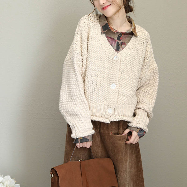 Loose Button Down Thicken Sweater Coat For Women Q1679