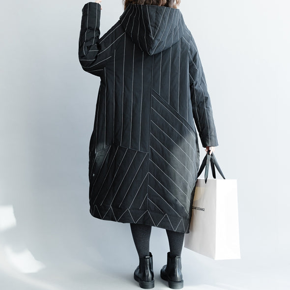 Elegant Black Striped Zipper Long Down Coat For Women C1316