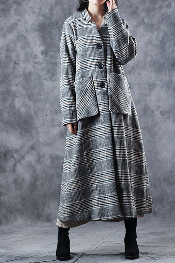 Women Fashion Plaid Over Coat Winter Loose Clothes C2915