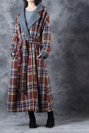 Women Winter Vintage Loose Coffee Plaid Woolen Over Coat C3012