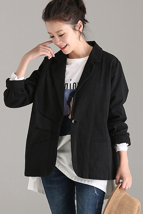 Casual Fitted Cotton Suit Jacket Women Fall Coat W7856