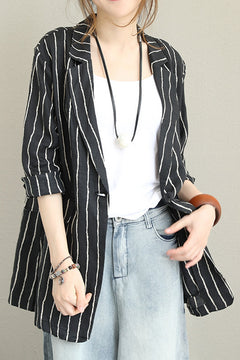 Fashion Black Striped Linen Coat Women Fall Jacket Q1369