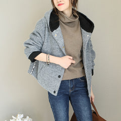 Women Hoodie Gray Woolen Coat Casual Winter Jacket Q1765