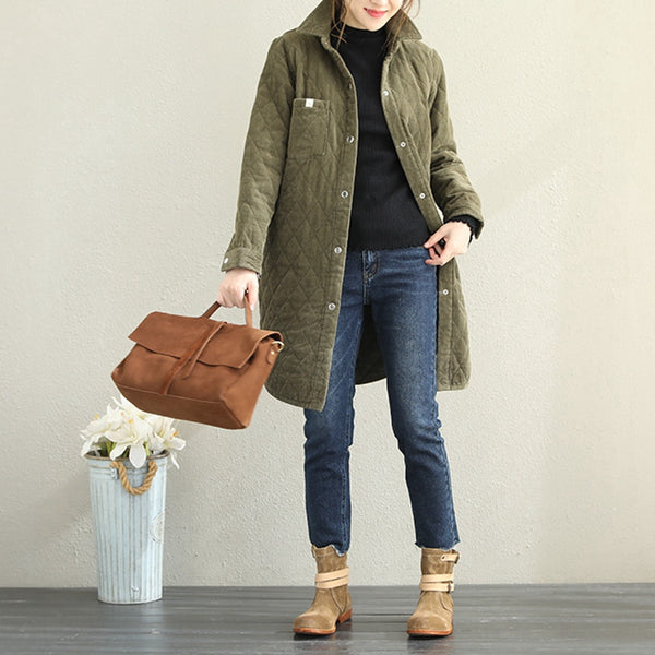 Loose Green And Coffee Corduroy Thicken Coat For Women Q1828