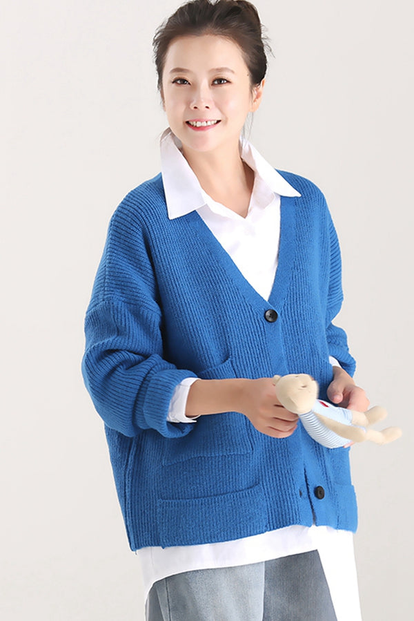 Fall Loose Button Down Knitted Coat  For Women W8031
