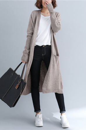 Loose Long Knitted Sweater Coat Women Jackets For Autumn C3093