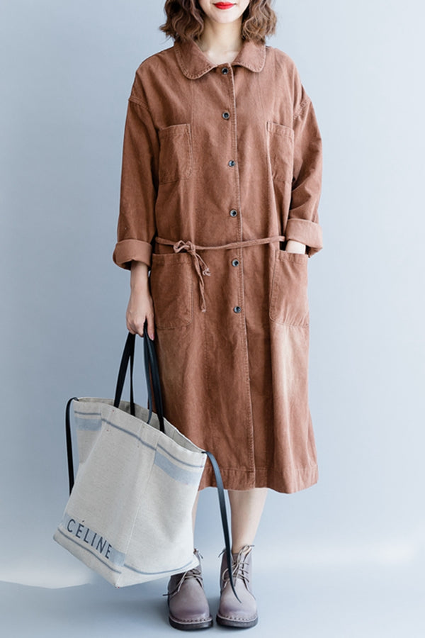 Casual Corduroy Cotton Wind Coat For Women C2490