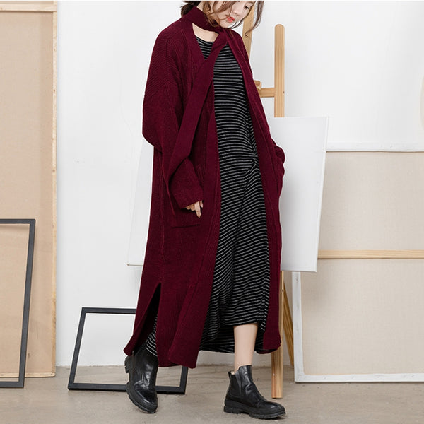 Women Loose Lace Up Long Sweater Coat Warm Clothes C2211