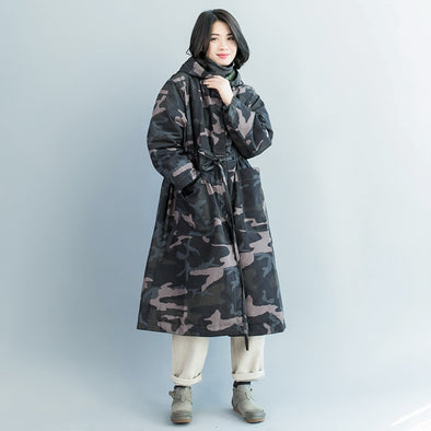 Loose Hoodie Camouflage Long Down Coat Women Winter Clothes C1314