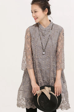 Art Round Neck Sheer Embroidery Lace Thin Coat Women Tops W2292
