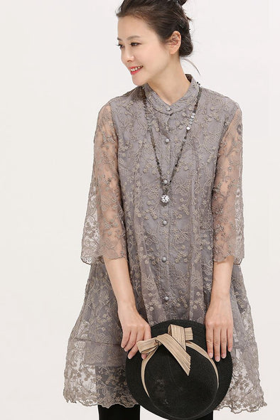 Art Round Neck Sheer Embroidery Lace Thin Coat Women Tops W2292 - FantasyLinen