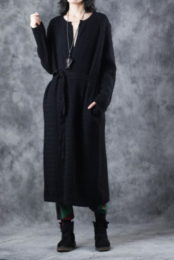 Elegant Pure Color Knitted Long Coat Women Casual Clothes C2916