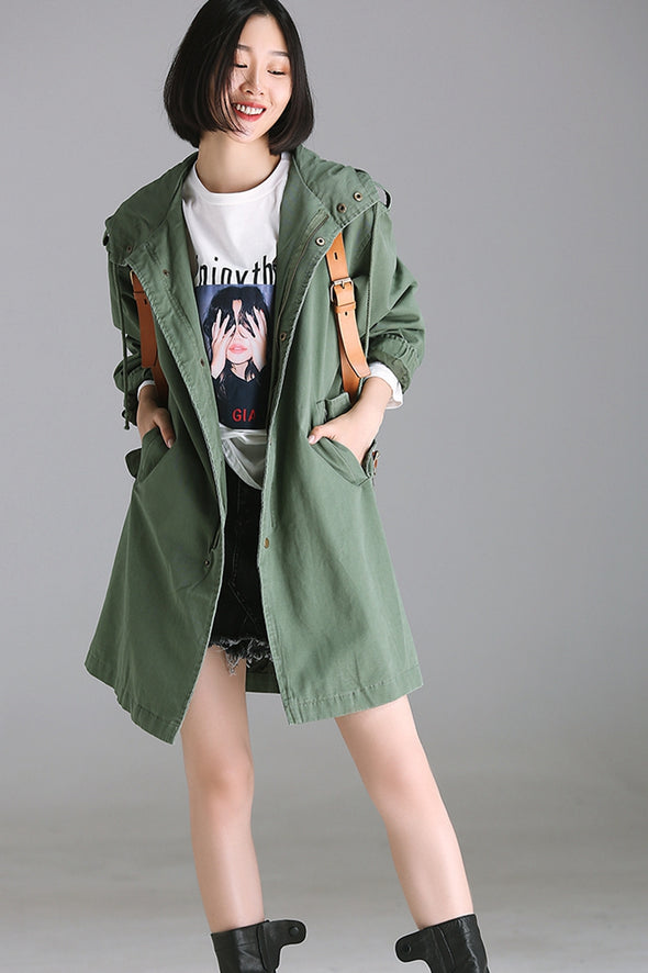 Casual Hoodie Green Cotton Wind Coat For Women W8390