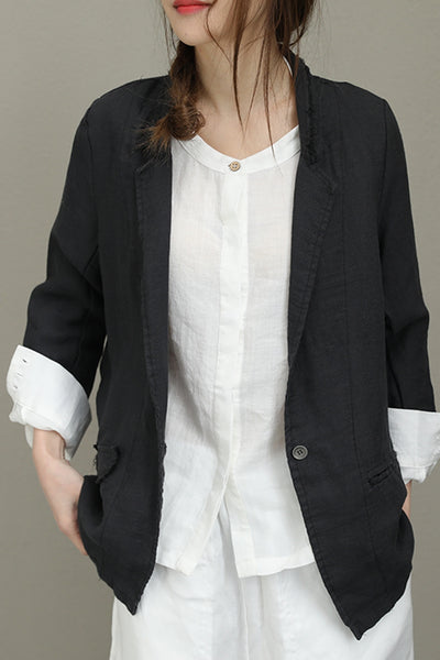 Casual Loose Cotton Linen Coat Women Fashion Jacket Q8102