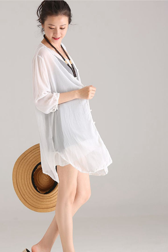 Cute Square Neck Thin Chiffon Coat Women Lycras C1138