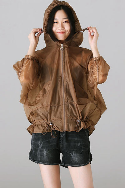 Casual Hoodie Drawstring Thin Coat Women Loose Jacket W1286